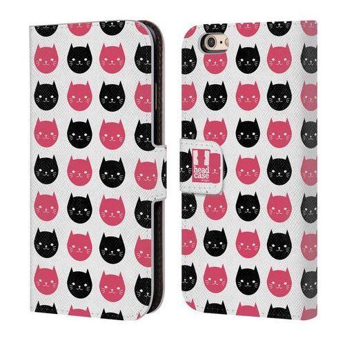 Etui portfel na telefon - Cats and Dots Black and Pink, kolor czarny