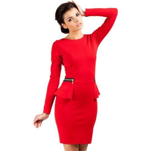 Elegancka Sukienka z Baskinką i Suwakami - Czerwony, w 5 rozmiarach