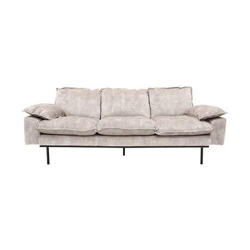 sofa retro 3-osobowa aksamitna w kolorze kremowo-białym mzm4669 marki Hk living
