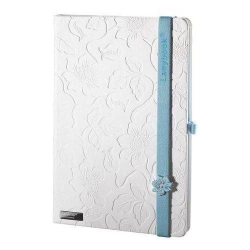 Lediberg Notes a6 lanybook innocent passion white w kratkę z niebieską gumką (8057432195325)