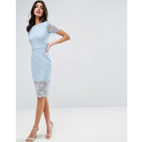 lace scallop t-shirt midi bodycon dress - blue, Asos