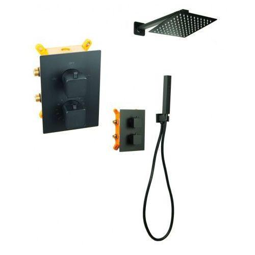 Stellman Bateria natryskowa prysznicowa termostatyczna vivid tr2 deszczownica ultra slim 25cm black czarna