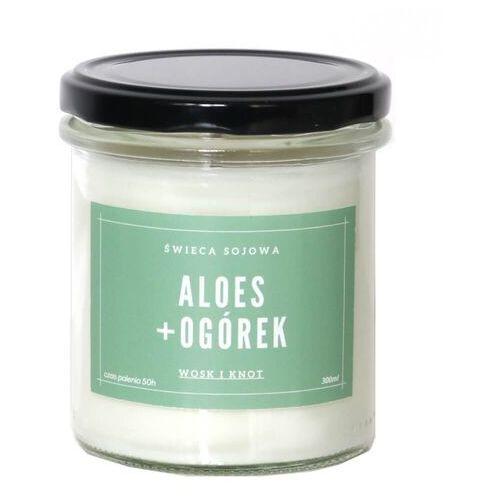 Świeca sojowa ALOES + OGÓREK - aromatyczna ręcznie robiona naturalna świeca zapachowa w słoiczku 300ml
