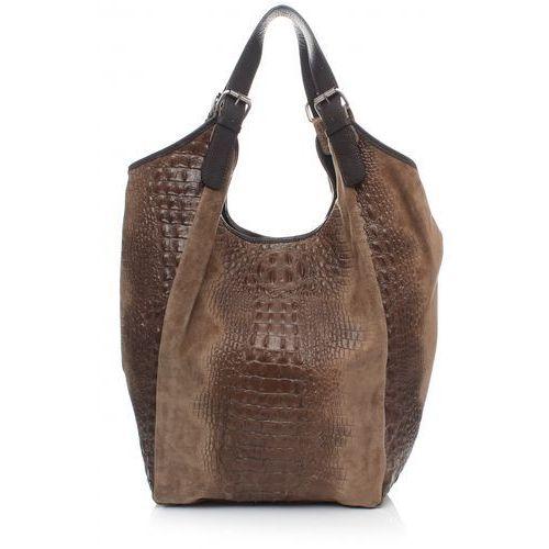 Duża torba skórzana shopper xxl aligator ziemista (kolory) marki Vera pelle