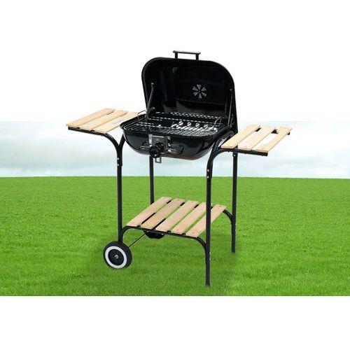 Grill ogrodowy węglowy z pokrywą i drewnianymi półkami, 40x45cm / 99581 / TOYA - ZYSKAJ RABAT 30 ZŁ (5906083995811)