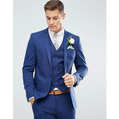 ASOS Wedding Skinny Suit Jacket in Blue Cross Hatch with Printed Lining - Navy