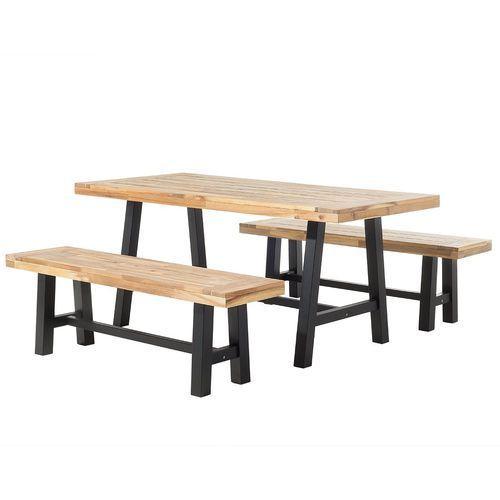 Beliani Meble ogrodowe czarno-brązowe - ogród - stół z 2 ławkami - scania (7081452072626)