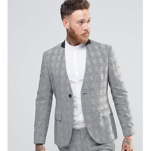 skinny collarless suit jacket in prince of wales check - grey, Religion