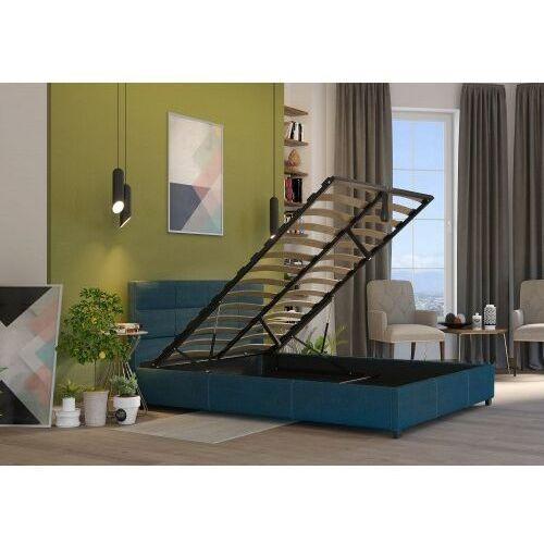 Łóżko 180x200 tapicerowane arezzo + pojemnik + materac sawana lazurowe marki Big meble