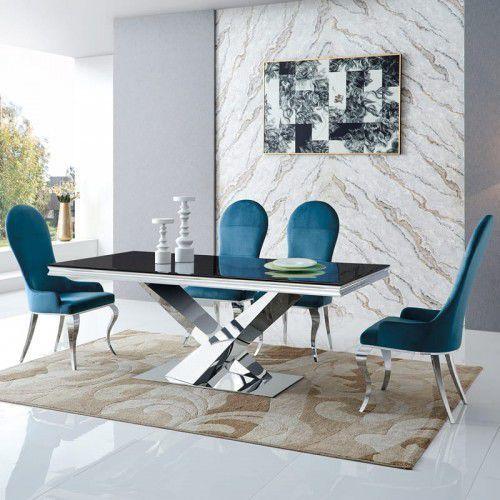 Stół glamour Cameron - stal szlachetna blat szklany nowoczesny
