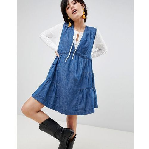 Free People Esme Denim Mini Dress - Blue