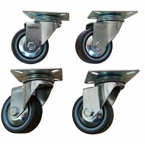 Zestaw kół fi 50 mm 4 szt. skrętne bez hamulca, gumowe, nośność 130 kg na zestaw.