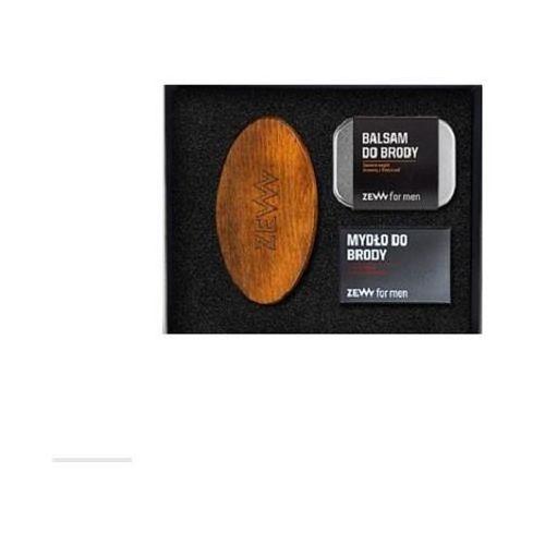 Zadbany brodacz zestaw balsam do brody 80ml + mydło do brody 85ml + szczotka brodacza do profesjonalnej pielęgnacji zarostu marki Zew for men