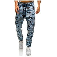 Spodnie joggery bojówki męskie moro-niebieskie Denley 0404, kolor niebieski