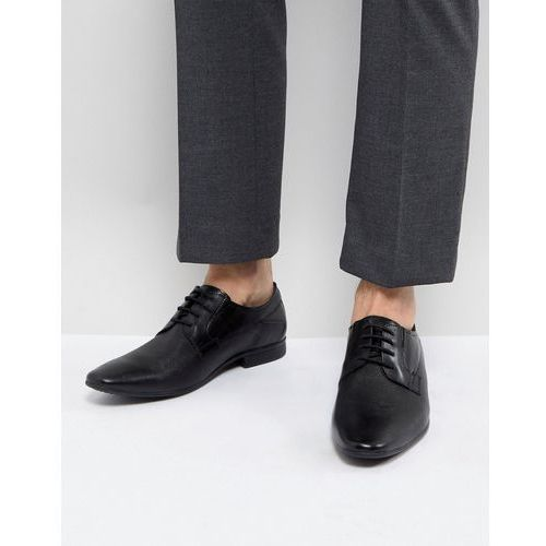 embossed leather derby shoes in black - black, Pier one