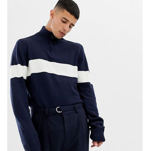 Another Influence TALL Chest Stripe Half Zip Jumper - Navy