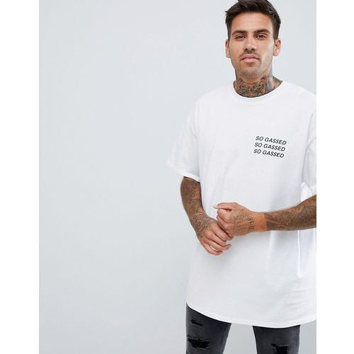oversized t-shirt with so gassed print in white - white, Boohooman, S-XL
