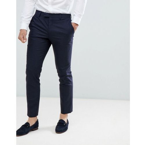 River island wedding skinny fit suit trousers in blue check - blue