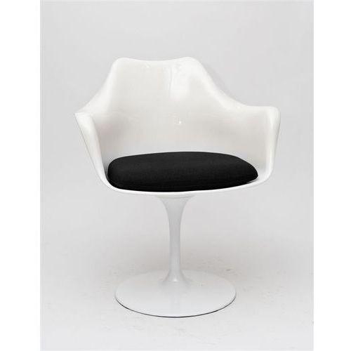 Krzesło TulAr inspirowane Tulip Armchair - czarny ||biały, kolor biały