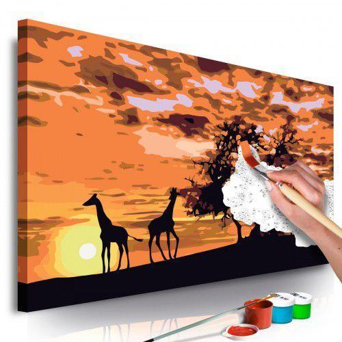 Obraz do samodzielnego malowania - Na sawannie (żyrafy i słonie), A0-MA_0116 (10110456)