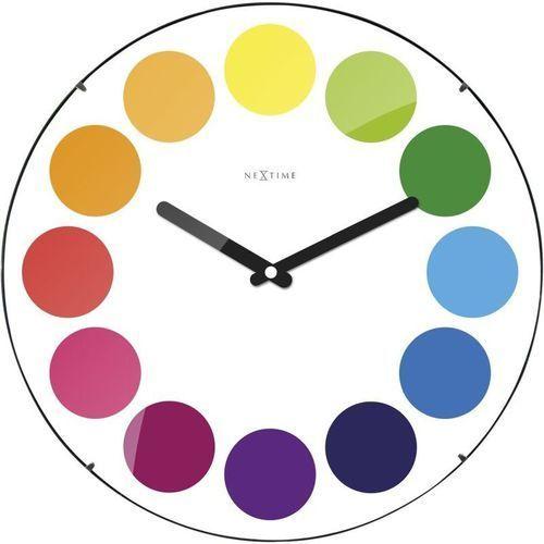 Nextime - zegar ścienny dots dome - biały