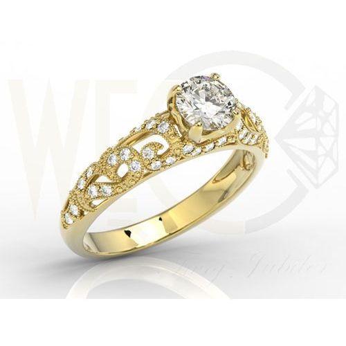 Pierścionek zaręczynowy z żółtego złota z białym szafirem i diamentami BP-50Z