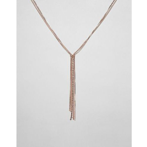 River Island necklace with diamante detail in rose gold - Orange, kolor pomarańczowy