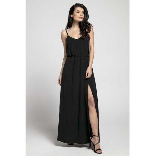 Czarna Zwiewna Maxi Sukienka na Cienkich Ramiączkach z Rozcięciem, NA292bl