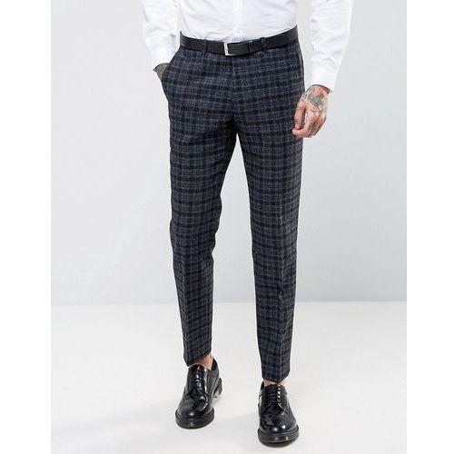 woven in england 100% wool overcheck suit trousers in skinny fit - grey, marki Noose & monkey