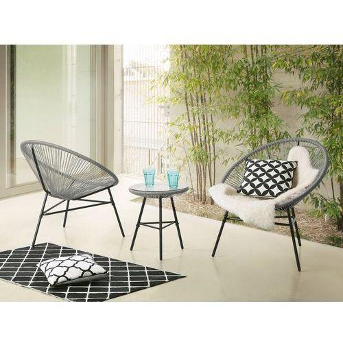 Meble balkonowe stół z 2 krzesłami jasnoszare ACAPULCO (7105272772600)