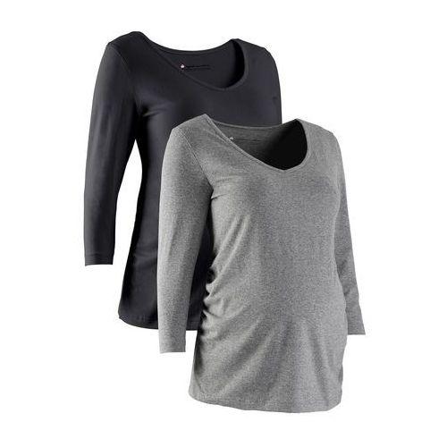 Bonprix Shirt ciążowy z rękawami 3/4 (2 szt.), bawełna organiczna  czarny + szary melanż