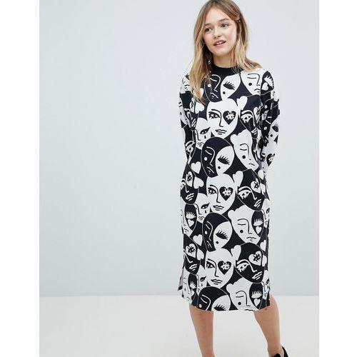 Monki long sleeve all over face print midi dress - black