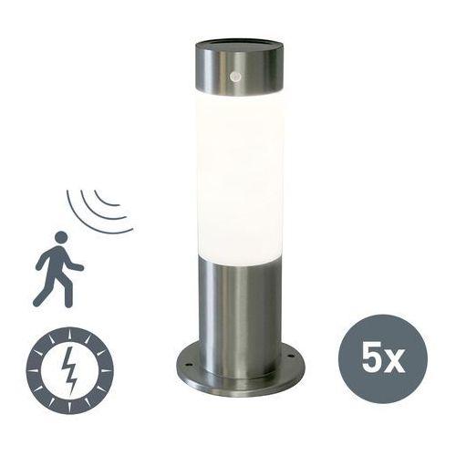 Qazqa Zestaw 5 zewnetrznych lamp solarnych rox 30 stal