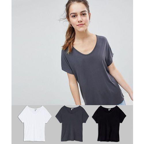 Asos petite Asos design petite t-shirt with drapey batwing sleeve 3 pack save - multi