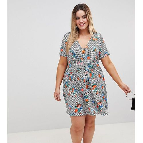 ASOS DESIGN Curve Floral Print Gingham Button Through Sundress - Multi