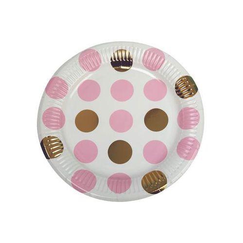 Talerzyki papierowe Kropki różowe - 22,5 cm - 8 szt.