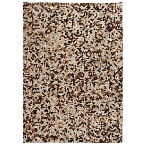 Vidaxl Patchworkowy dywan ze skóry bydlęcej, 80x150 cm, brązowo-biały