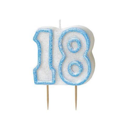 Brokatowa świeczka na 18-tke z niebieską obwódką - 1 szt. marki Unique