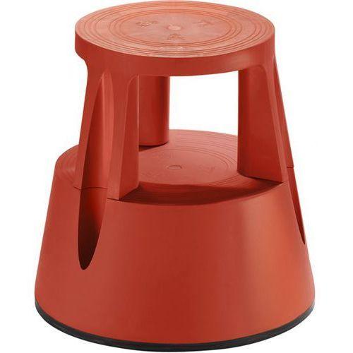 Taboret na kółkach z trwałego tworzywa, nośność 150 kg, czerwony, od 10 szt. z t marki Twinco