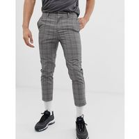 cropped smart trousers in prince of wales check - grey marki New look