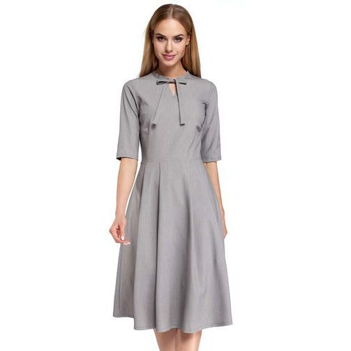 Szara Sukienka Elegancka Rozkloszowana z Wiązaniem przy Dekolcie