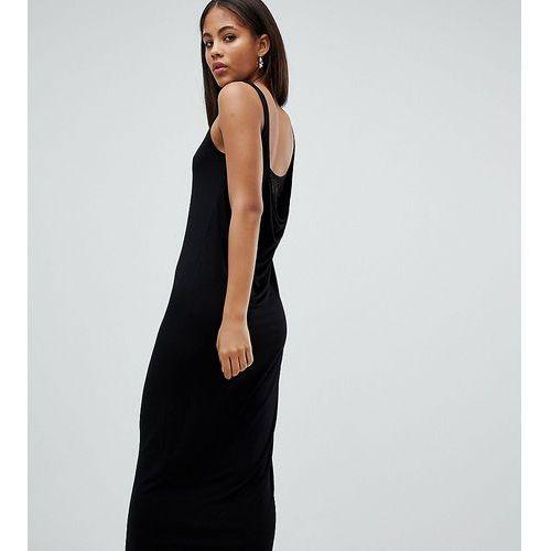 ASOS DESIGN Tall maxi dress with lace insert cowl back - Black, kolor czarny