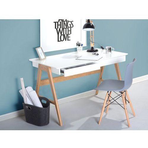 Beliani Biurko 120 x 70 cm białe/jasne drewno sheslay (4260580924844)