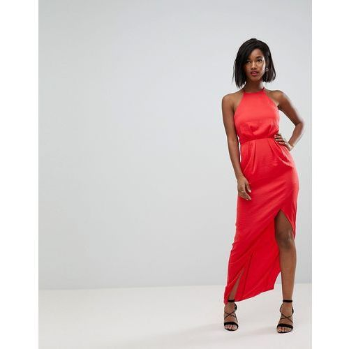 hammered satin maxi dress with lace up back - red marki Asos