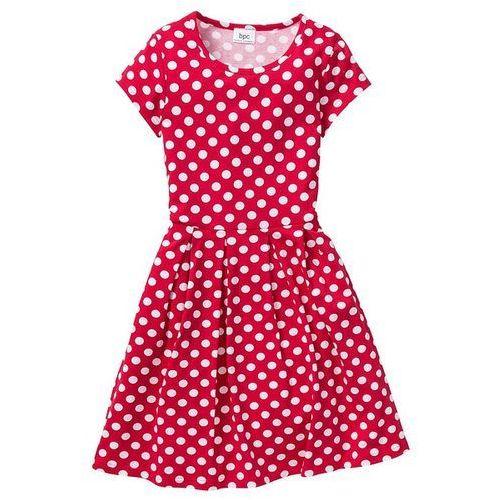Bonprix Sukienka drukowana  czerwono-biały w groszki, kategoria: sukienki dla dzieci