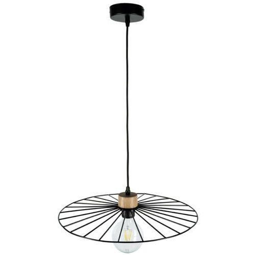 Lampa wisząca Antonella czarna, detal drewno Ø45cm (5903313999830)