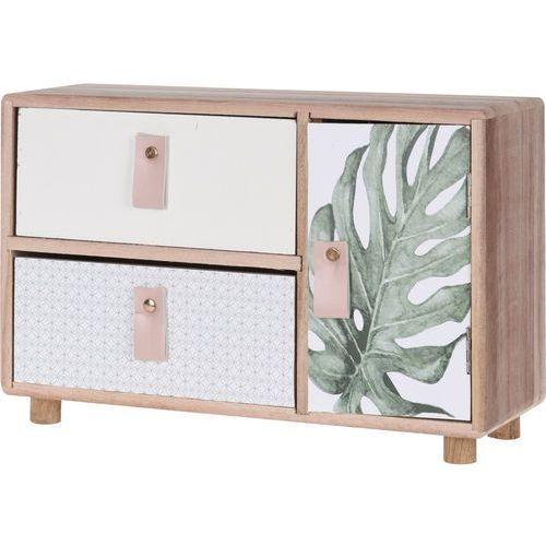 Drewniana szafka na drobiazgi, 2 szufladki i 1 drzwiczki