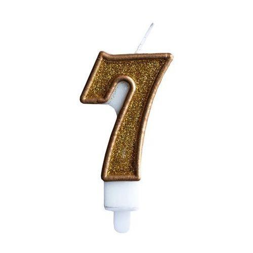 """Świeczka złoty brokat cyferka """"7"""""""