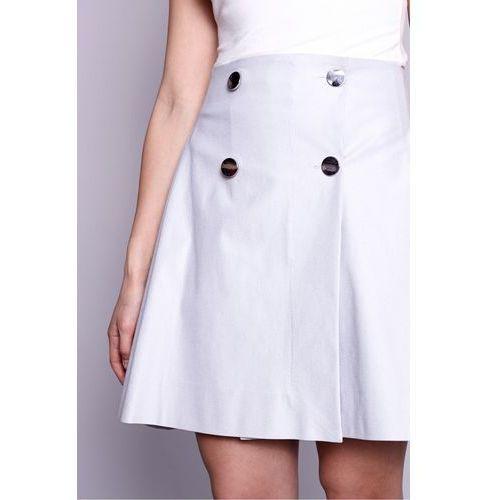 Szara, trapezowa spódnica z ozdobnymi guzikami - Click Fashion, trapezowa