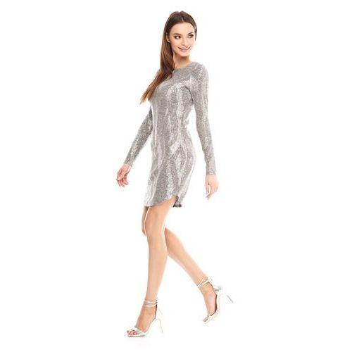 Sukienka Malena w kolorze srebrnym, kolor szary